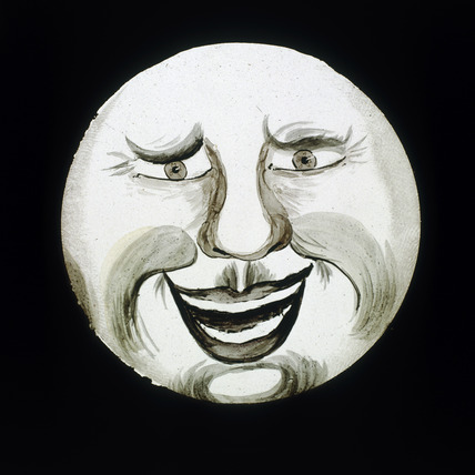 'Laughing face', hand-coloured magic lantern slide, 19th century.