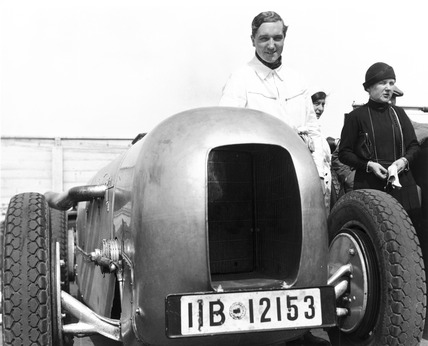 Manfred von Brauchitsch with Mercedes racing car, Berlin, 1933.