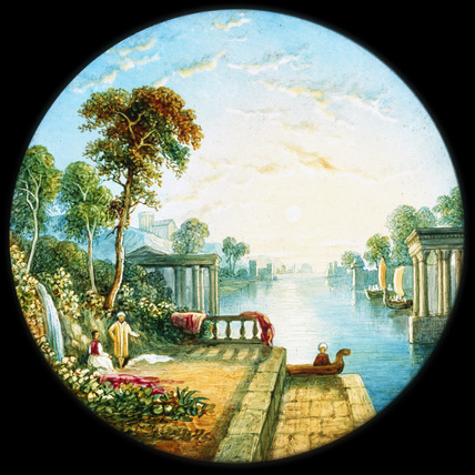 'Evening',after Creswick, hand-coloured magic lantern slide, 19th century.