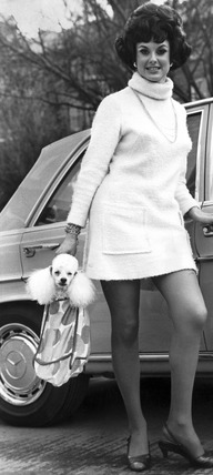 Woman with poodle, April 1969.