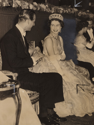 Queen Elizabeth and Prince Philip at the Royal Film Show, 1953.