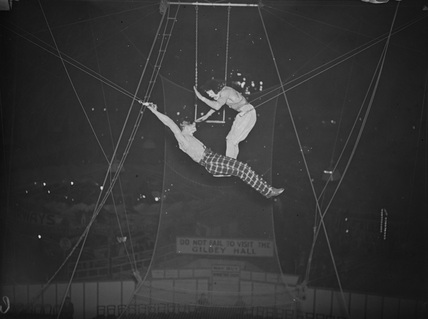 Members of the Leotaris troupe of trapeze artists, 1936