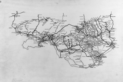 Map of Aireys Railway. South Wales, UK, 1921.
