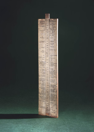 Wollaston slide rule of chemical equivalents, 1814.
