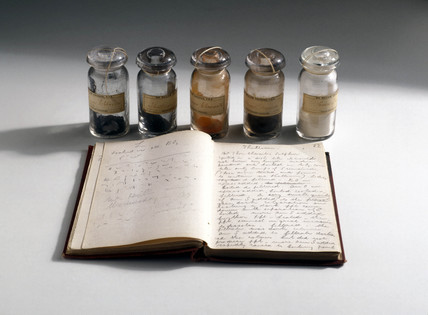 Crookes' thallium samples and notebook, 1861.