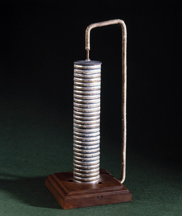 Voltaic pile used by Nicholson and Carlisle, 1801-1805.