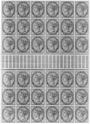 Block of 36 penny lilac stamps, 1881.
