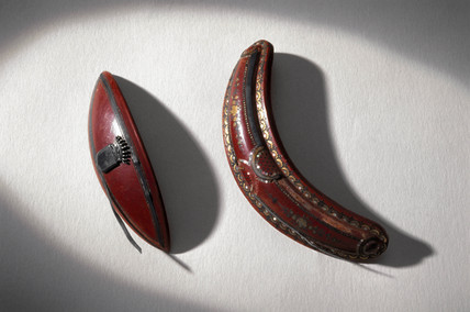 Two hair slides made from Parkesine, c 1860.