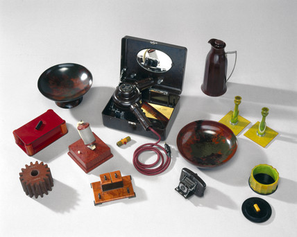 Plastic objects made from phenol formaldehyde, 1920-1939.