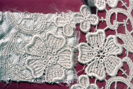 Piece of  viscose rayon with a detailed flower design, c 1880s.