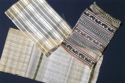Three patterned samples of artificial silk, c 1883.