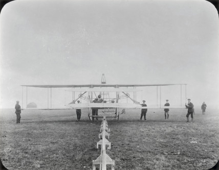 Wright Brothers Type A aeroplane on its launching rail, Sheppey, Kent, c 1910.
