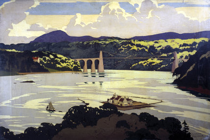 Menai Suspension Bridge, Wales, c 1922-1947.