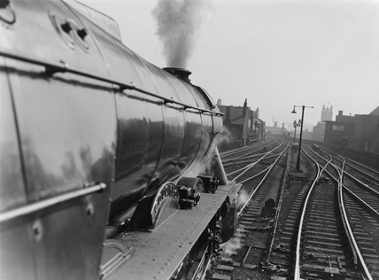 Shot from footplate leaving Leeds. BR locomotive No.60036. Colombo, England, 1935-78.