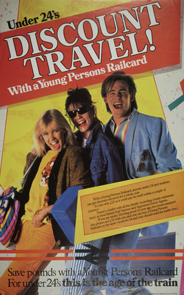 Poster, British Railways, 'Under 24's Discount Travel!, 1984.