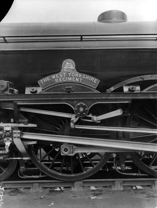 London Midland Scotland (LMS) locomotive no. 6130 'The West Yorkshire Regiment' Royal Scot class 6P 4-6-0, 21st June 1935. DY_20090.