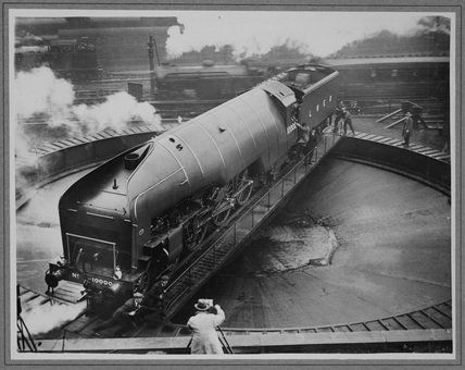 London and North Eastern Railway (LNER) locomotive no. 10000 classs W1 on turntable. (NRM_PHA_106).