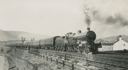 LMS 4-4-0 locomotive No.926 on an 'Up' Manchester Express approaching Chinley North Junction, 2nd April 1932. (S.T. Cowan, Ma_1, Album 8)