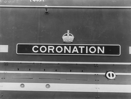 Close-up of nameplate LMS no 6220 'Coronation'
