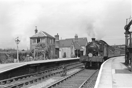 Locomotive no. 5503 at Wiveliscombe, Barum train 28 July 1951.
