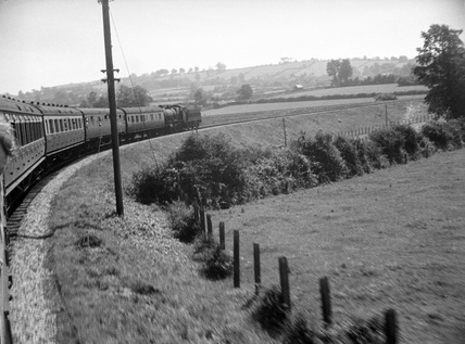 Barnstaple GW, Ilfracombe excursion leaving. July 1949