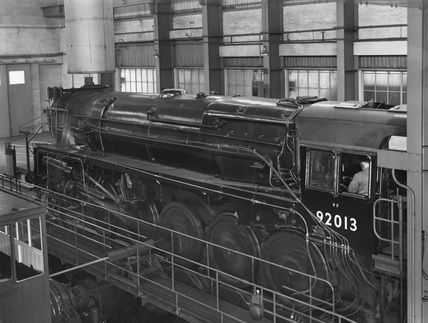 BR Standard Class 9F locomotive at Rugby Locomotive Testing Station
