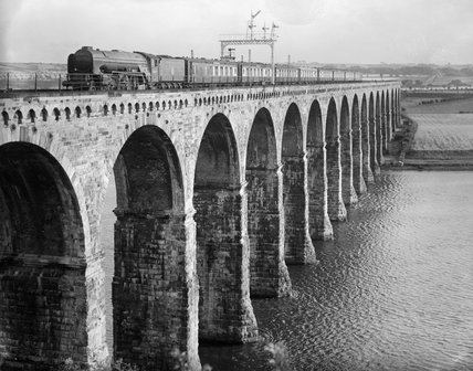 The Queen of Scots' steam locomotive crossing the Royal Border Bridge at Berwick-upon-Tweed with a Pullman train, c 1950.