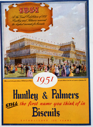 Colour advertisement for Huntley & Palmers biscuits 1951