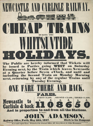Cheap Trains during the Whitsuntide Holiday. May 18th, 1847