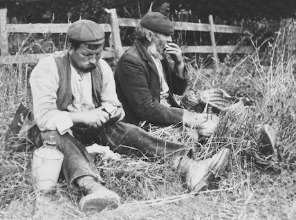 Two farm workers eating their lunch, 14 June 1932.