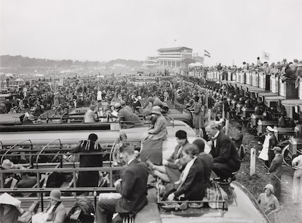 Viewing the Epsom Derby from open topped charabancs and buses, Surrey, 3 June 1931.