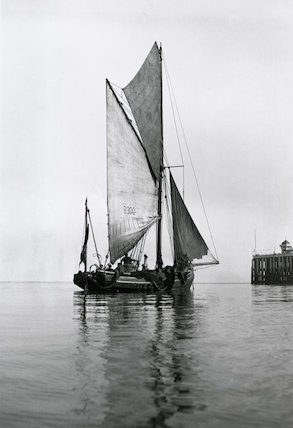 Fishing smack, c 1920s. Argiculture: Fishing. Black and white image of a fishing boat.