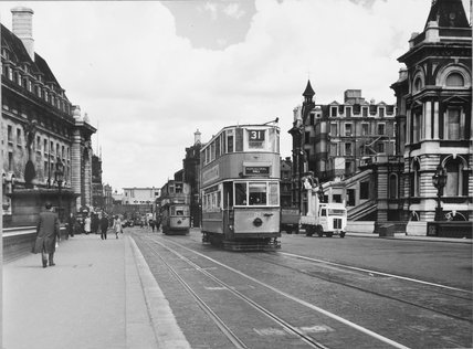 Trams on Westminster Bridge, June 12th, 1949