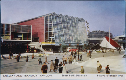 Postcard of Fairway & Transport Pavilion, South Bank Exhibition,  Festival of Britain, 1951
