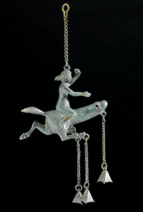 Bronze amulet with horses' hooves and mounted by a woman. Graeco-Roman, 100 BCE-400 CE.