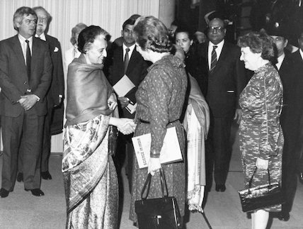 MRS Thatcher (prime minister) greetings MRS Gandhi (prime minister) at Science in India exhibition. Science Museum, 1982.