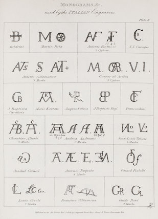 Monograms used by the Italian Engravers: Rees' Cyclopaedia