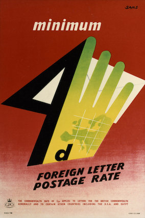 Minimum 4d foreign letter postage rate - 1954