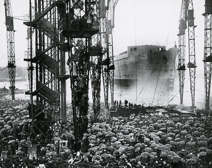 The launch of the giant Cunard White Star liner 'Queen Mary' at Clydebank, 26 September 1935.