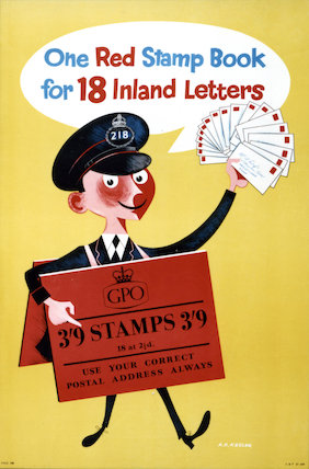 One red stamp book for 18 inland letters - 1955