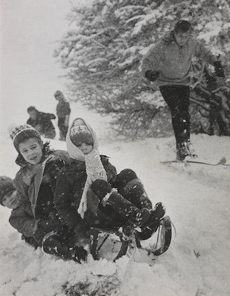 Winter sports in heavy snow on Hampstead Heath, 1962