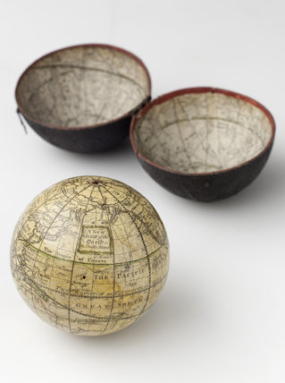 Pocket globe by Dudley Adams, fishskin case, celestial and terrestial.