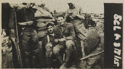 Snapshot of British soldiers in a trench in the First World War, 1915