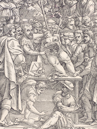 Woodcut of Andreas Vesalius dissecting a cadaver, 1555.