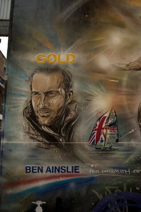 Graffiti portrait in East London of Ben Ainslie by Paul Don Smith