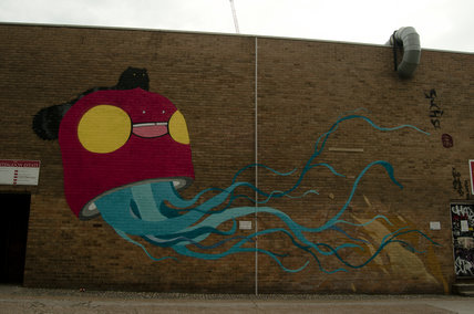 Graffiti in East London by Flip of a Tanuki and Jellyfish