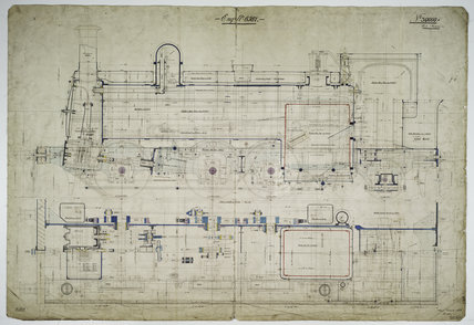 General arrangement drawing of Wrexham, Mold & Connah's Quay Railway '0-6-2' tank locomotive.39090_6587