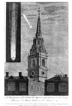 Comet passing over St Martin-in-the-Fields.