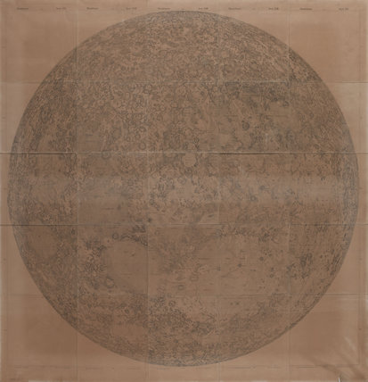 Large map of the Moon (approx. 80cm) by Wilhelm Lohrmann, 1880s.