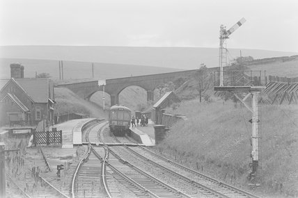 A diesel locomotive pulling a passenger train to Skipton,A1969.70/Box 5/Neg 1242/8